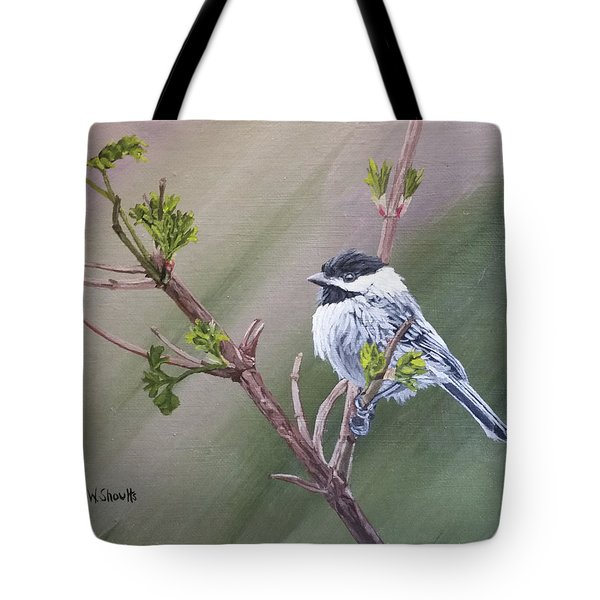 Spring Chickadee Tote Bag by Wendy Shoults