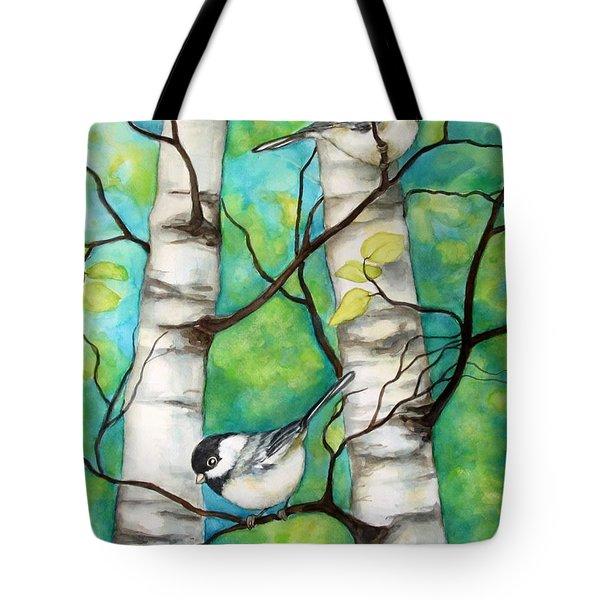 Spring Chickadees Tote Bag