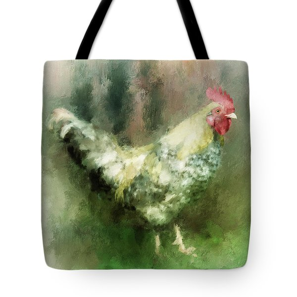 Tote Bag featuring the digital art Spring Chicken by Lois Bryan