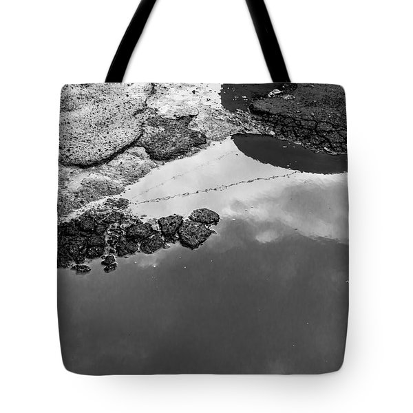 Spring Clouds Puddle Reflection Tote Bag