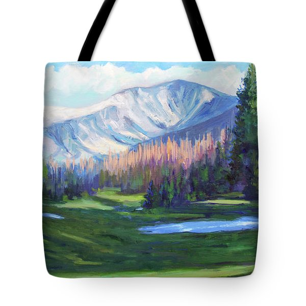 Tote Bag featuring the painting Spring Colors In The Rockies by Billie Colson