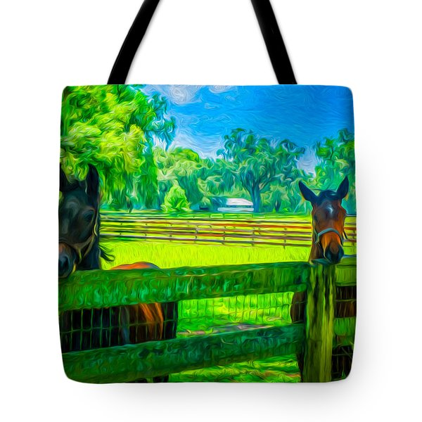 Tote Bag featuring the painting Spring Colts by Louis Ferreira