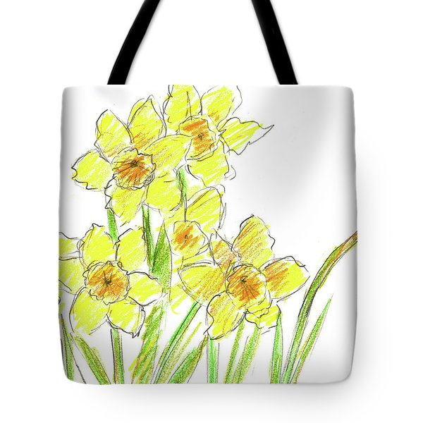 Tote Bag featuring the painting Spring Daffodils by Cathie Richardson
