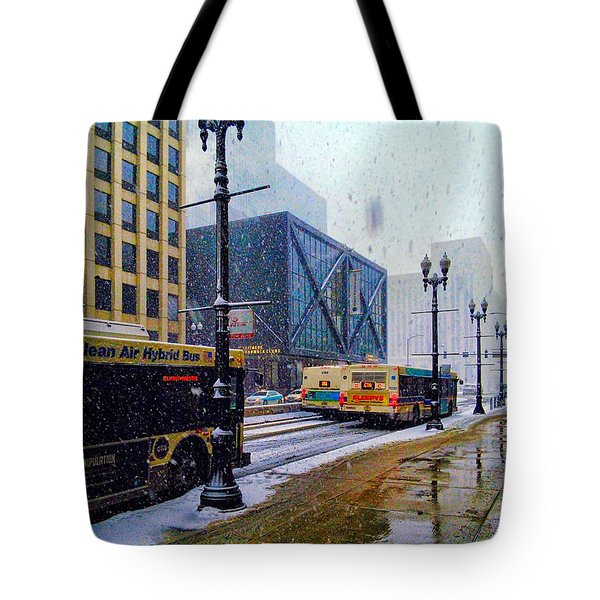 Spring Day In Chicago Tote Bag by Dave Luebbert