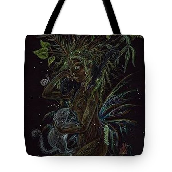Tote Bag featuring the drawing Spring Dryad by Dawn Fairies