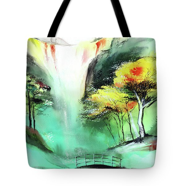 Tote Bag featuring the painting Spring Fall by Anil Nene