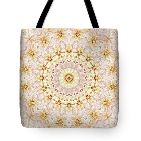 Spring Fantasy Floral Mandala Tote Bag by Janusian Gallery