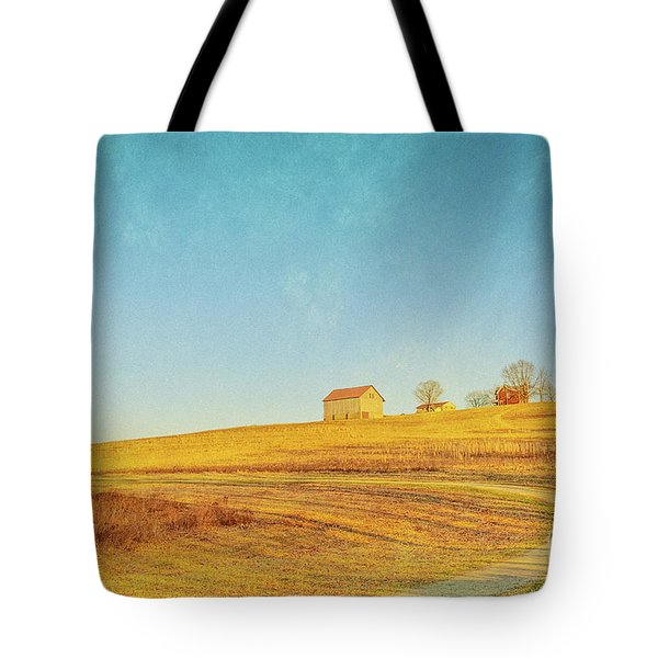 Tote Bag featuring the digital art Spring Farm And Fields by Randy Steele