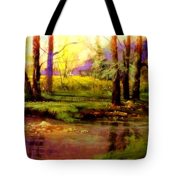 Spring Fields Along Sunlite Creek Tote Bag by Joseph Barani