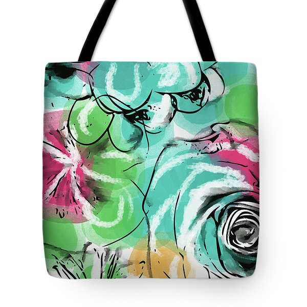 Tote Bag featuring the mixed media Spring Floral 9- Art By Linda Woods by Linda Woods