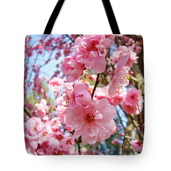 Spring Floral Art Prints Pink Tree Blossoms Tote Bag by Baslee Troutman