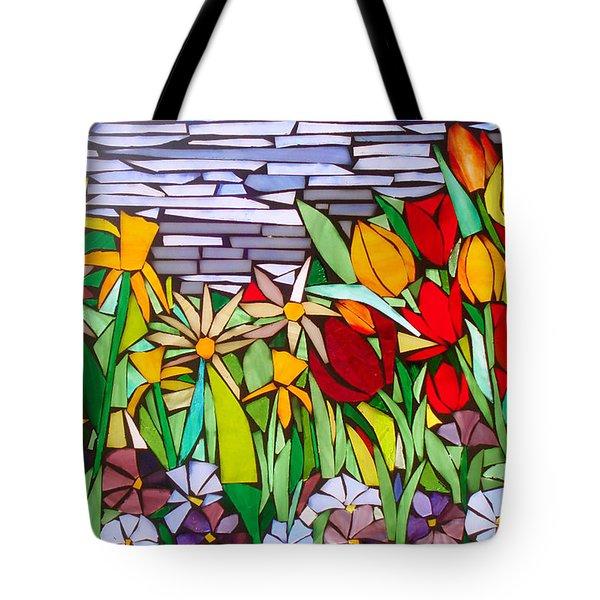 Spring Floral Mosaic Tote Bag