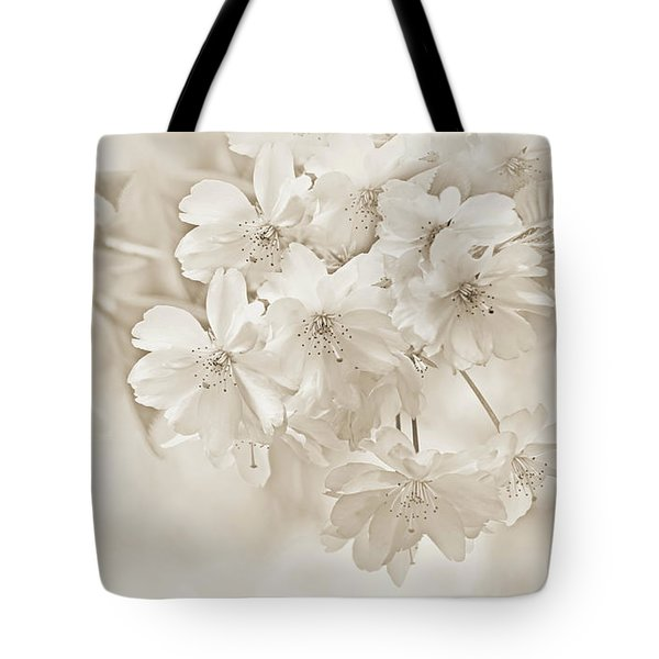 Tote Bag featuring the photograph Spring Flower Blossoms Soft Brown by Jennie Marie Schell