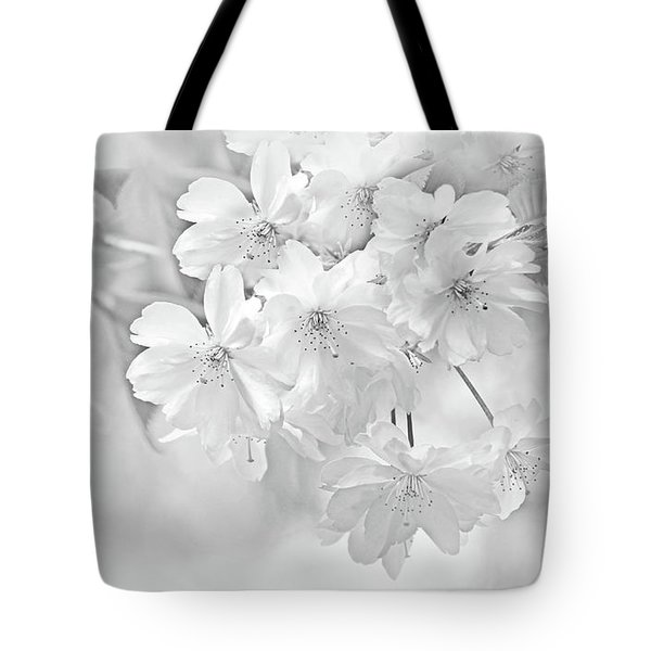Tote Bag featuring the photograph Spring Flower Blossoms Soft Gray by Jennie Marie Schell