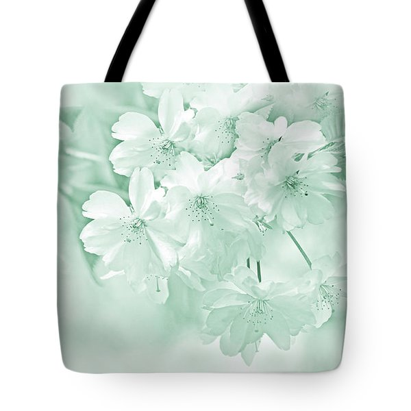Tote Bag featuring the photograph Spring Flower Blossoms Teal by Jennie Marie Schell