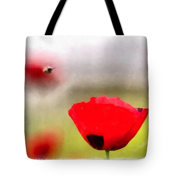 Spring Flowering Poppies Tote Bag