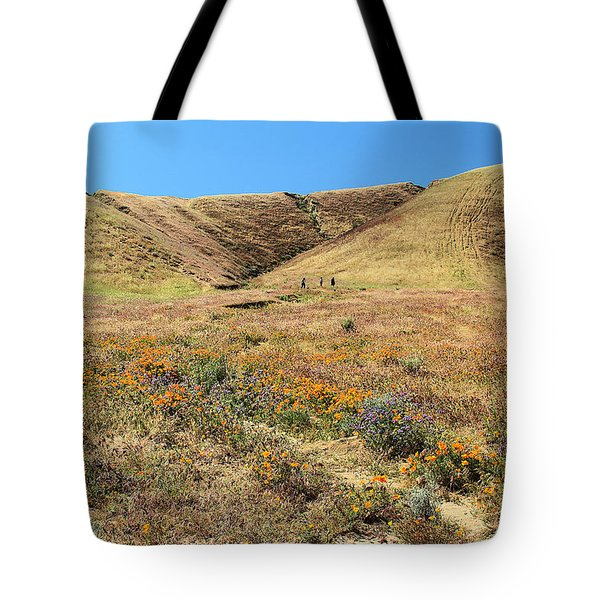 Spring Flowers At Foothills Of  Sierra Pelona Mountains Tote Bag
