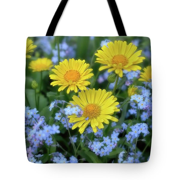 Spring Flowers Forget Me Nots And Leopard's Bane Tote Bag by Henry Kowalski