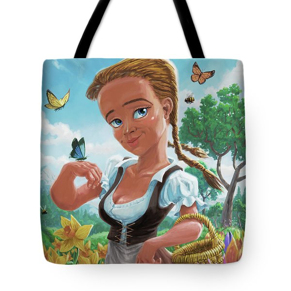 Tote Bag featuring the digital art Spring Girl by Martin Davey