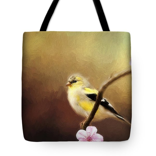 Spring Goldfinch Tote Bag by Darren Fisher