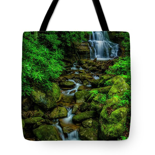 Spring Green Waterfall And Rhododendron Tote Bag
