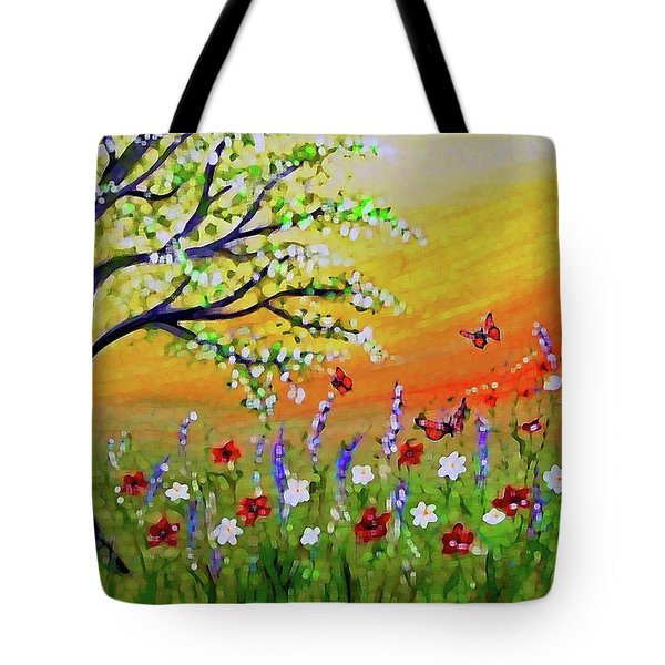 Tote Bag featuring the painting Spring Has Sprung by Sonya Nancy Capling-Bacle