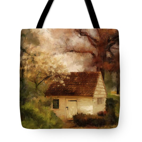 Tote Bag featuring the digital art Spring House In The Spring by Lois Bryan