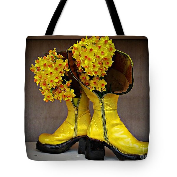 Spring In Yellow Boots Tote Bag