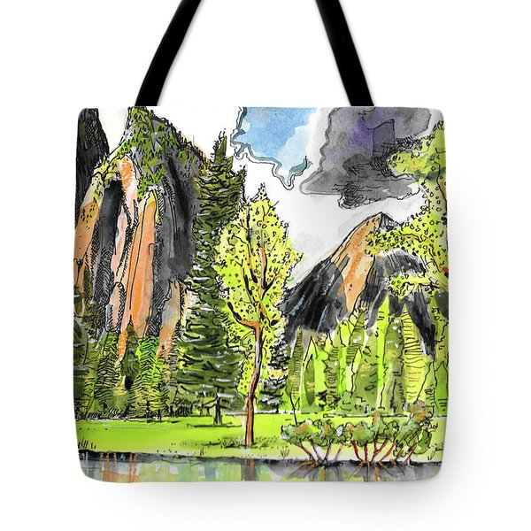 Tote Bag featuring the painting Spring In Yosemite by Terry Banderas