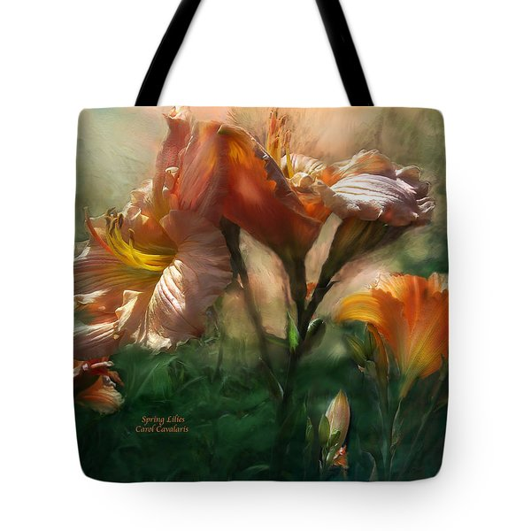 Spring Lilies Tote Bag by Carol Cavalaris