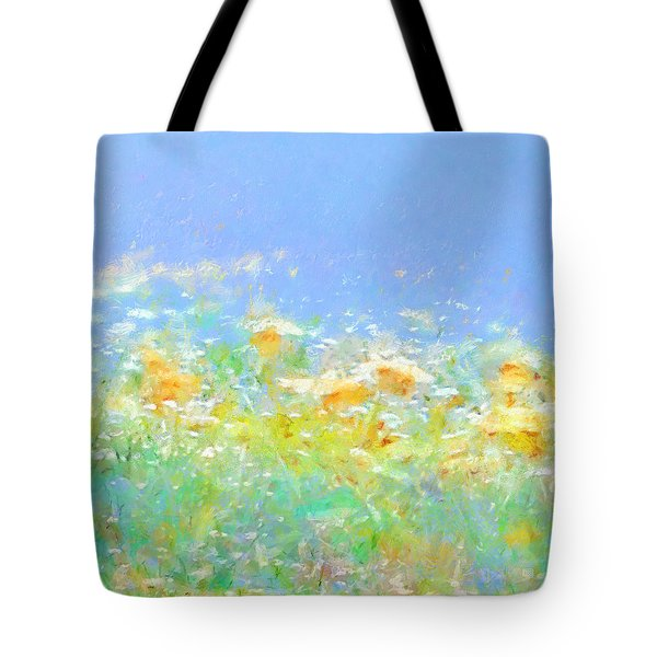 Spring Meadow Abstract Tote Bag by Menega Sabidussi