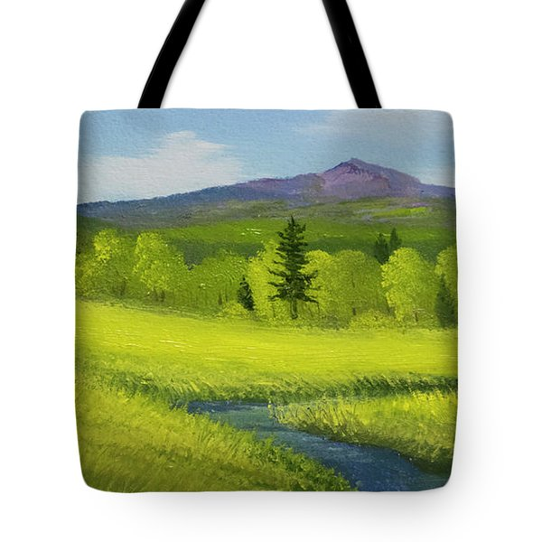 Tote Bag featuring the painting Spring Meadow Brook by Frank Wilson