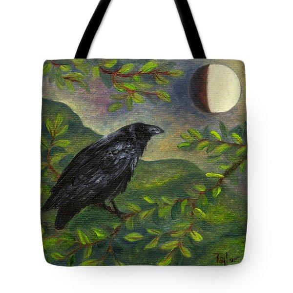 Spring Moon Raven Tote Bag