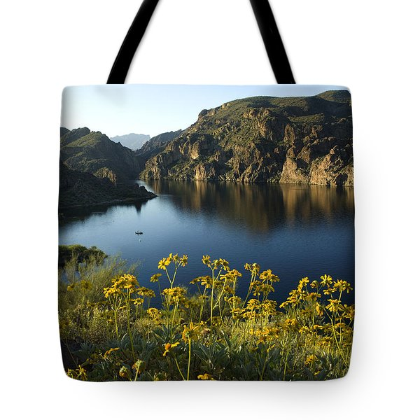 Spring Morning At The Lake Tote Bag by Sue Cullumber