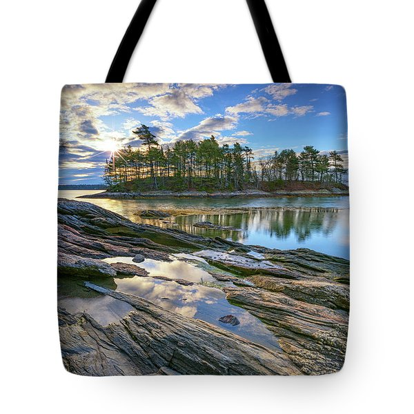 Spring Morning At Wolfe's Neck Woods Tote Bag by Rick Berk