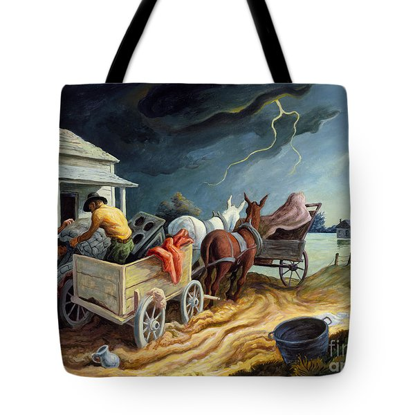 Tote Bag featuring the painting Spring On The Missouri by Thomas Hart Benton