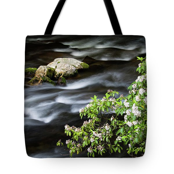 Tote Bag featuring the photograph Spring On The Oconaluftee River - D009923 by Daniel Dempster