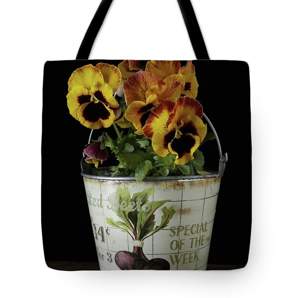 Spring Pansy Flowers In A Pail Tote Bag