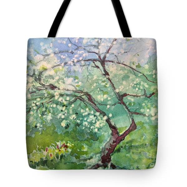 Tote Bag featuring the painting Spring Plum by Elizabeth Carr
