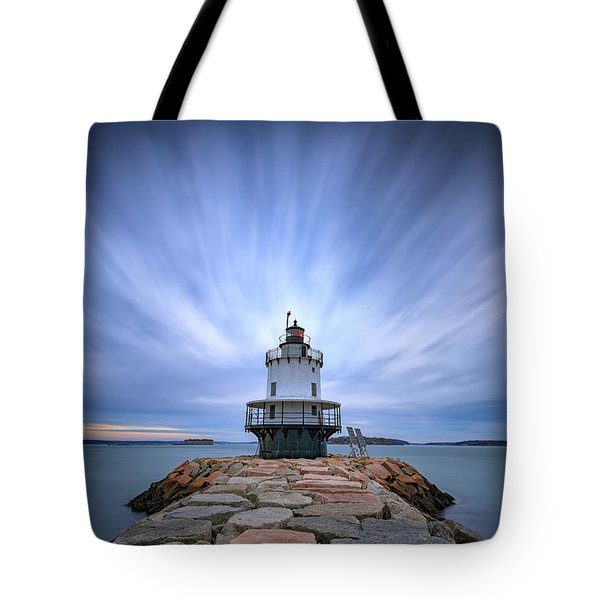 Spring Point Ledge Light Station Tote Bag by Rick Berk