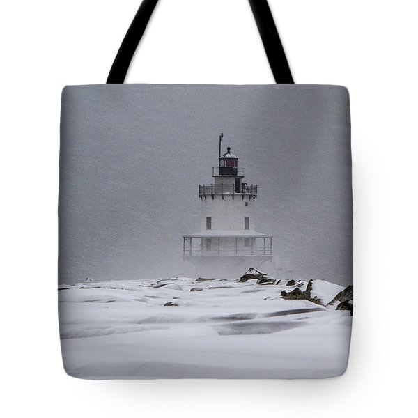 Tote Bag featuring the photograph Spring Point Ledge Lighthouse Blizzard by Darryl Hendricks