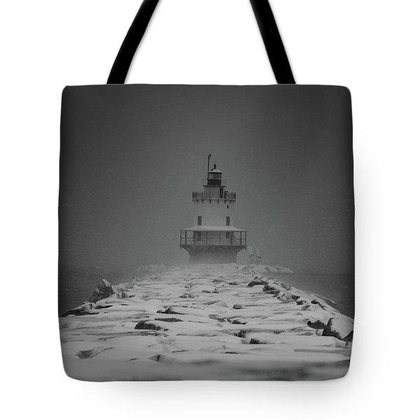 Spring Point Ledge Lighthouse Blizzard In Black N White Tote Bag
