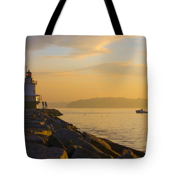 Spring Point Lighthouse At Dawn. Tote Bag