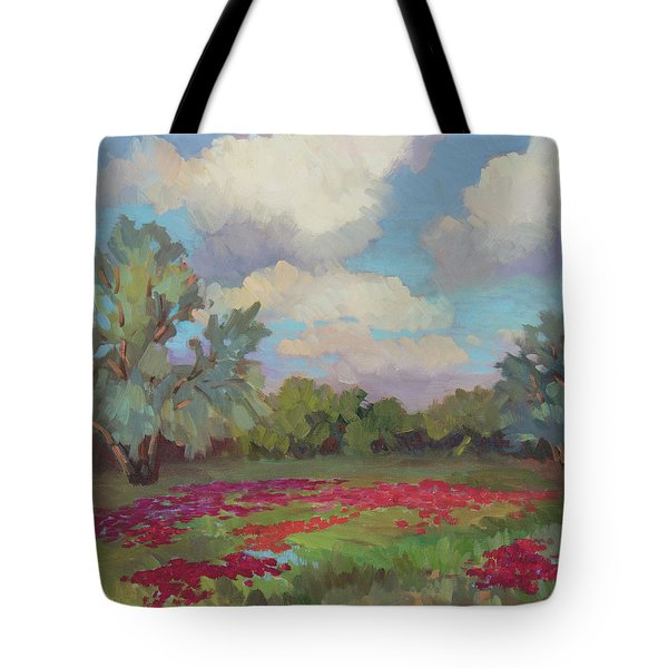 Tote Bag featuring the painting Spring Poppies by Diane McClary