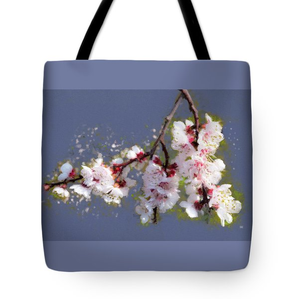 Tote Bag featuring the painting Spring Promise - Apricot Blossom Branch by Menega Sabidussi