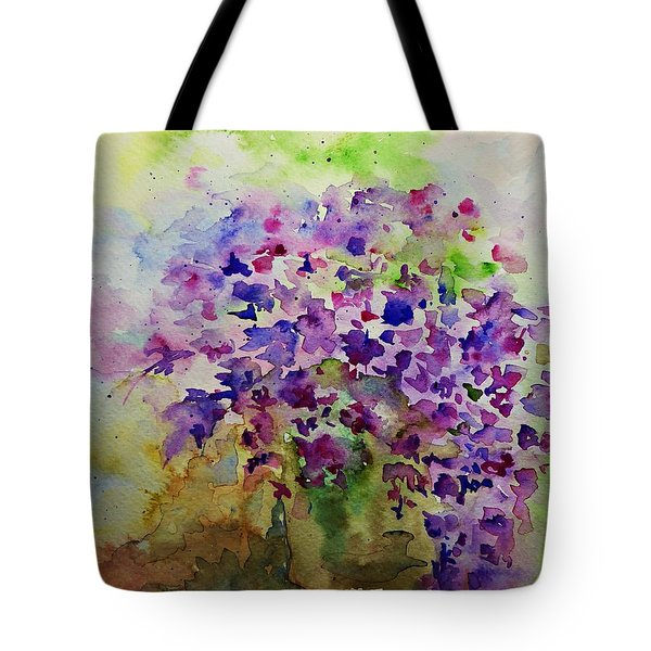 Tote Bag featuring the painting Spring Purple Flowers Watercolor by AmaS Art