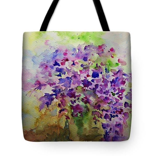 Spring Purple Flowers Watercolor Tote Bag