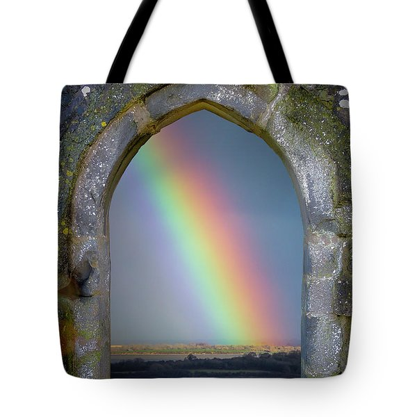 Tote Bag featuring the photograph Spring Rainbow Over Ireland's Shannon Estuary by James Truett