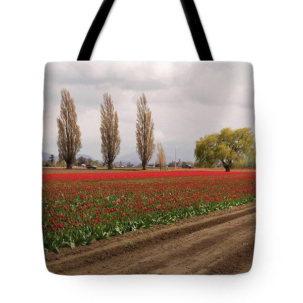 Spring Red Tulip Field Landscape Art Prints Tote Bag
