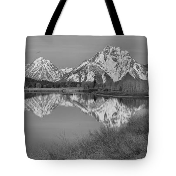 Spring Reflections At Oxbow Bend Black And White Tote Bag by Adam Jewell